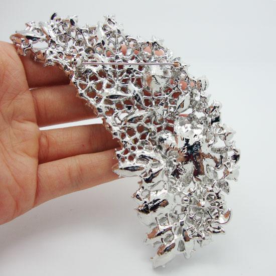 All'ingrosso -Bridal Damigella d'onore Fiore rosa goccia spilla ciondolo trasparente cristallo di strass