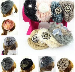 girl plastic hat 2019 - Luxury women girl Headband X-MAS Party Hair Accessary BERET Beanie HAT CAP Fascinator HeadPiece Headbands Mini cap hat H