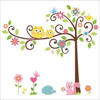 палки деревьев для стен оптовых-High quality!Free shipping Cute Owl Tree Peel & Stick Wall Decal Kindergarten DIY Art  Wall Stickers Decor Mural