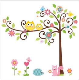 Wholesale Owl Wall Mural - High quality!Free shipping Cute Owl Tree Peel & Stick Wall Decal Kindergarten DIY Art Vinyl Wall Stickers Decor Mural