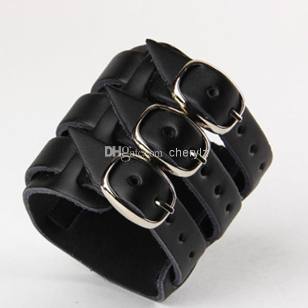 a2b10b8ff4 Rock Wide Genuine Leather Bracelet Malti Layer Buckle Fashion Charm ...