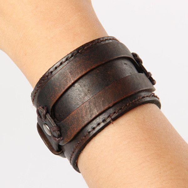 88e8282e74e1 Estilo antiguo de Roma para hombre pulseras de cuero exagerado de punto  punky circular ancho pulsera muñequera regalos WB011