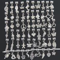 pandora tibet gümüşü toptan satış-Moda Boncuk Pandora Charms Dangle Kolye Için Tibet Gümüş Boncuk 300 adet / grup Charm Takı Sıcak Satış Ücretsiz Kargo