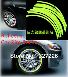 """Wholesale 17 Rims - 18pcs Stripes 17"""" Wheel Reflective Car Rim Sticker Big Motorcycle Wheel Decal Tape Stickers 8 Colors Free Shipping"""