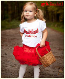 Wholesale Girls Pettiskirt Sets - New Summer girls tutu 2pc dress skirt set girls cotton letter shoe tshirt + girls chiffon red tutu skirt pettiskirt 10pc=5sets Melee