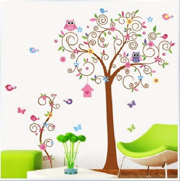 Large Forest Animals Owl Bird Tree Wall Sticker Art Decal Decor Kid Nursery
