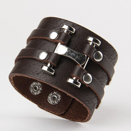 Wholesale H Style Bracelet - Letter H Metal Silver Charm Bracelet Retro Rock Style Leather Bracelets Wristband Cuff Christmas Gifts WB012