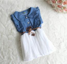 Wholesale Denim For Girls Wholesale - Girl Dresses 50902 Children Clothes Fashion Denim Dot Gauze Sleeveless Dresses For Girl 2-6T