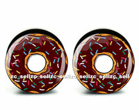 Commercio all'ingrosso 60 pz monili penetranti del corpo cookie logo plug nero acrilico vite fit spina spina di orecchio calibri carne tunnel dimensione 6mm-25mm ASP0387