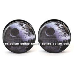Wholesale Ear Tunnel 25mm - Wholesale 60pcs body piercing jewelry Death_Star logo plug black acrylic screw fit ear plug gauges flesh tunnel size 6mm-25mm ASP0345