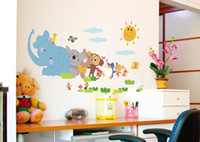 Elephant Singe bricolage animaux ZOO For Kids Baby Room Wall Sticker Decal papier Décor