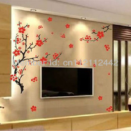 Wholesale Tree Branches Wall Stickers - 1pcs Red Plum Blossom Flowers Black Tree Branch Wall Stickers Decals Butterfly Removable Decor Backdrop Free Shipping 50*70CM