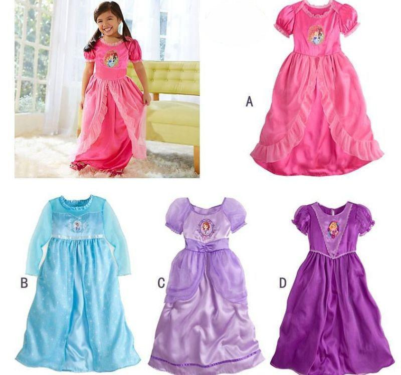 Baby Girls Frozen Dress Sofia Elsa Princess Nightgown Dresses ...