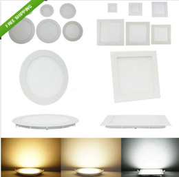 Wholesale 12w Square Led Ceiling Lamp - 6W 9W 12W 15W 18W Bright LED SMD Recessed Ceiling Panel Light Bulb Lamp Round Square indoor lights 85-265V Led Driver