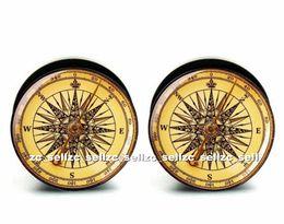 Canada Gros 60 pcs corps piercing bijoux vintage boussole logo plug noir acrylique vis il oreille bouchon jauges chair tunnel taille 6mm-25mm ASP0409 Offre