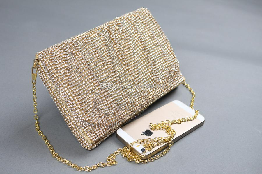 Cheap In Stock Gold Clutches Sparkling Rhinestone Crystal Evening ...