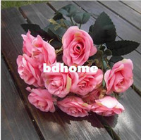 Wholesale Shoe Flower Vases - 12buds Fashion french rose artificial flower silk flower bride wrist length flower shoe flower hair accessory hat without vase