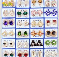 Wholesale Ear Cuff Earrings Gems - Luxury women girl charm earrings stud earrings ear clip cuff Silver plated diamond pearl gem pendants earrings with jewelry box
