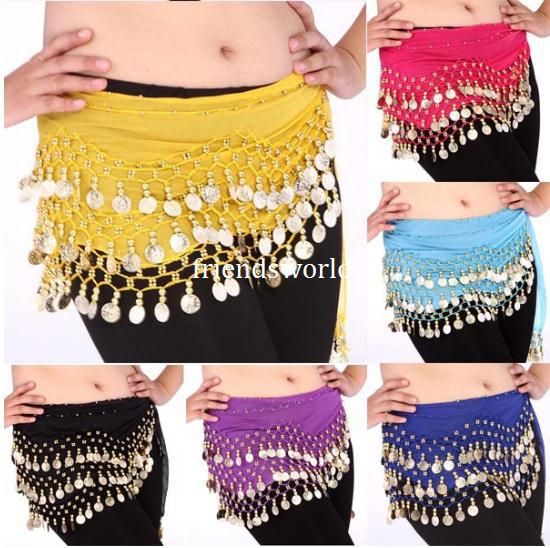 top popular High Quality 12 Colors 3 Rows 128 Coins Belly Egypt Dance Hip Skirt Scarf Wrap Belt Costume 100pcs lot 2019