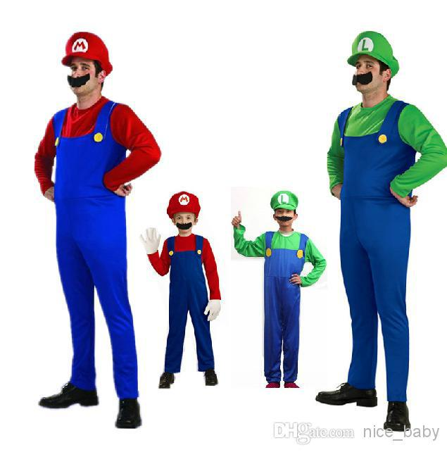 Mens Super Mario Luigi Brothers Fancy Dress Up Party Costume Hat Masquerade Cosplay Mario Costume Adults Children Super Mario Costume Simple Group Halloween ...  sc 1 st  DHgate.com & Mens Super Mario Luigi Brothers Fancy Dress Up Party Costume Hat ...