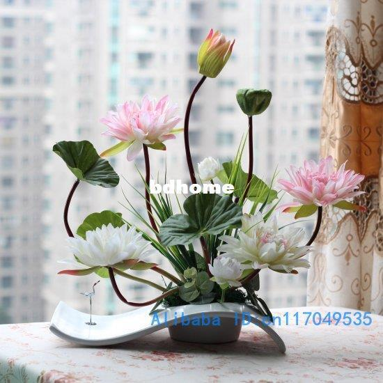 Online Cheap Flower Arrangement Ikebana Arranged Artificial Lotus Flower Silk Flower Include