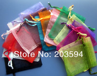 packing lot lighting - 500pcs Light Color Jewelry Packing Drawable Organza Bags x9cm Wedding Gift Bags Pouches