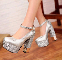 Wholesale Wedding Shoes Taiwan - 2014 silver sequins waterproof taiwan wedding round head shoes high heel shoes evening party bridal wedding shoes yzs168