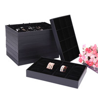 schwarzes samtring displayfach großhandel-Black Velvet Holz Schmuck Display Tray Schmuckschatulle Ring Tray Halskette Armband Halter 10 Stil für Option