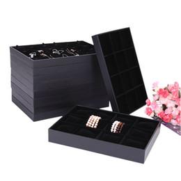 Bandejas de jóias de madeira on-line-Black Velvet Bandeja De Exibição De Jóias De Madeira Caixa De Jóias Anel Bandeja Colar Pulseira Titular 10 Estilo para a opção