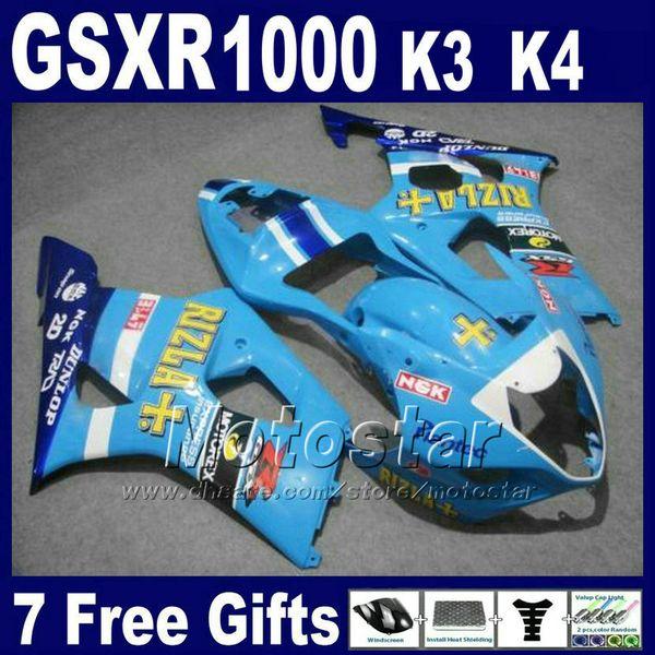 Motorcycle fairings set for SUZUKI GSX-R 1000 K3 2003 2004 GSXR 1000 03 04 GSXR1000 blue ABS plastic fairing kit SF30 +7 gifts
