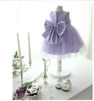 vestidos infantiles para boda púrpura al por mayor-1 pieza bebé grande arco Chica púrpura vestidos de fiesta infantil princesa Tutu vestidos, niñas vestidos de boda de verano del partido niños ropa de vestir de los niños