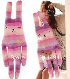 Wholesale Bunny Pillow - Wholesale 65cm lovely fresh Purple Striped crown pear Bunny doll rabbit plush toys big pillow sleep