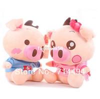 ingrosso peluche di valentina-Gli amanti di maiale svegli amanti di maiale McDull Pig giocattoli di peluche bambola regali di San Valentino regali per bambini spedizione gratuita