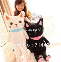 valentine's valentine venda por atacado-85 cm Bonito dos desenhos animados gato preto-e-branco amantes gato boneca boneca de brinquedo de pelúcia grande travesseiro presente do Dia Dos Namorados frete grátis