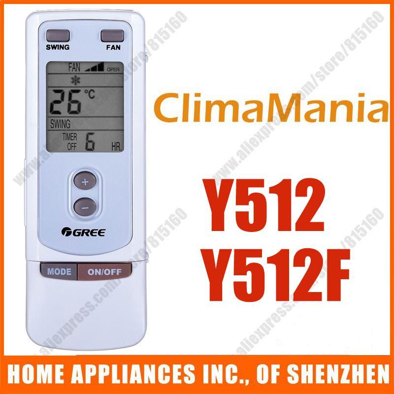 Substituição para Climamania GREE de Split condicionador de ar portátil de controle remoto substituição Y512 Y512F