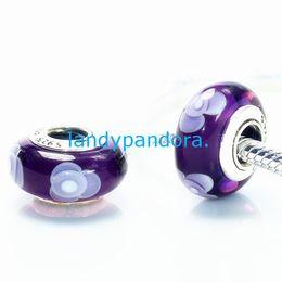 Wholesale Core Jewelry Wholesale - S925 Sterling Silver Screw Core Flowers Murano Glass Charm Beads Fit European Jewelry Bracelets Necklaces & Pendants-MU069