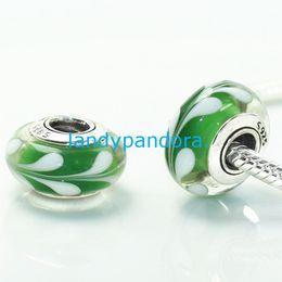 Wholesale European Green Lampwork - S925 Sterling Silver Screw Core Green Swirl Murano Glass Charm Beads Fit European Jewelry Bracelets Necklaces & Pendants-MU025