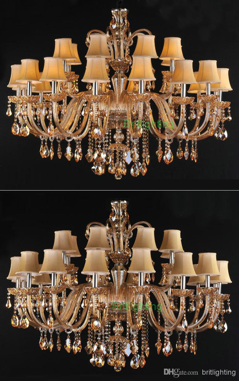 Huge Chandelier for living room fabric shade crystal chandelier contemporary crystal lighting with fabric lampshade multi-tier chandelier