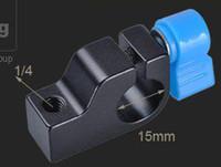 "Wholesale Dslr Rod Clamp - Metal 15mm Rod Clamp 1 4"" Thread for Support Rail Rig Rail DSLR DV Arm Monitor 10PK044"
