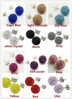Wholesale Shamballa Pave Balls - AAA 8mm 12 Pairs Mixed Crystal Shamballa Bead Pave Disco Ball Rhinestone Beads 925 Sterling Silver Earring Stud Fashion Jewelry