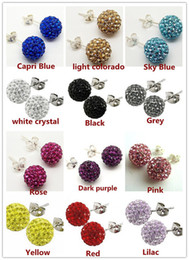Wholesale Pave Beads 8mm - AAA 8mm 12 Pairs Mixed Crystal Shamballa Bead Pave Disco Ball Rhinestone Beads 925 Sterling Silver Earring Stud Fashion Jewelry