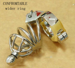 Wholesale Chastity Short Cage Urethral Tube - Conformtable wider ring Stainless steel Male chastity devices cock Cage Urethral Tube wider ring new hot male chastity chastity shorts