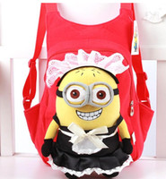 Wholesale Despicable Backpack School - 3D Eyes Despicable Me School Bag Plush soft backpack bag Cartoon Children bags