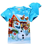 Wholesale Character T Shirts For Girl - New children T-Shirt Olaf Clothes Fashion Summer Children T Shirt for 2-6 Years Girls boys Casual Kids Clothes