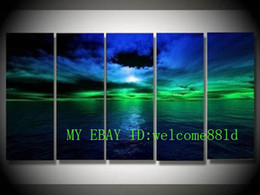 Wholesale Modern Paintings Large Size - 5 Panels Framed Large Modern Abstract Art Oil Painting Handpainted Wall Art Deco On Canvas Seascape,Multi Sizes Available,Free Shipping