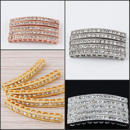 Wholesale Tube Connector Bar - Metal Plated Mix 20pcs lot Curved Side Ways Tube Bar Clear Crystal Rhinestone Bracelets Connector Beads Findings Jewellry
