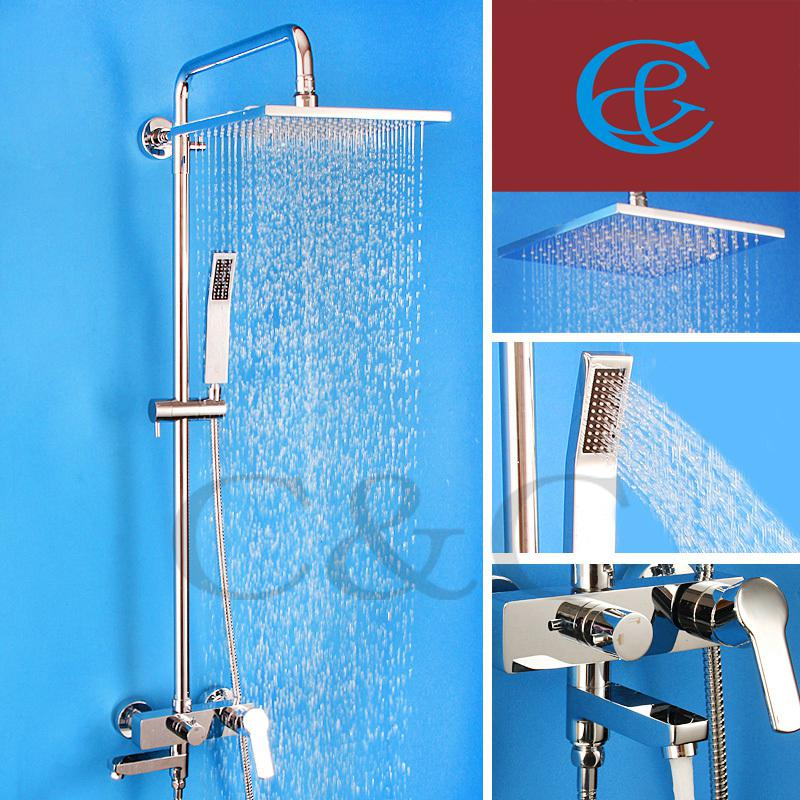 Discount Bathroom Shower Mixer Tub Faucet Shower Set With Brass Hand Shower  Sliding Bar 10 Air Drop Rainfall Shower Head From China | Dhgate.Com