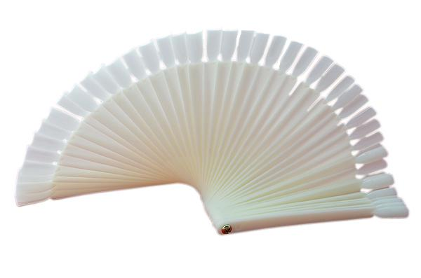 Ivory White Plastic Flase Nail Art Tips Stick Display Practice Fan Board&Nail Art Display natural color