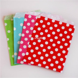 Wholesale Wholesale Polka Dot Paper Bags - 50pcs Lot 12.5*17.5cm Colorful Polka Dot Paper Bag Party Bags For Kids Birthdays Party Decoration Party Favor Bags