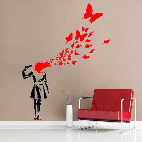 Banksy Butterfly Suicide Girl Wall Sticker Home Art Decor Decal For Home Mural Wallpaper Wall Art 80*100cm Appliques For Walls Art Decal From Kepiwell7 ... & Banksy Butterfly Suicide Girl Wall Sticker Home Art Decor Decal For ...